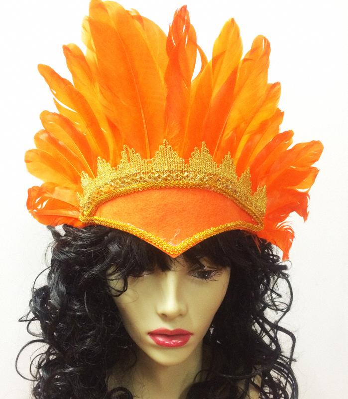 Coiffe brésilienne plumes oranges