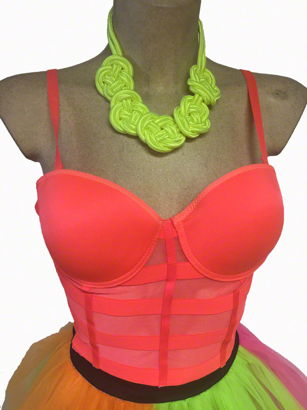 Bustier Bandes corail fluo 80\'