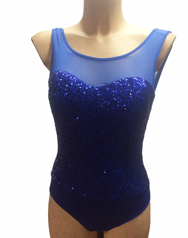 Body de danse pailleté bleu roy