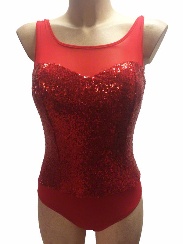 Body de danse pailleté rouge