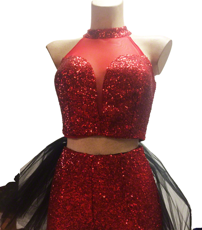 Bustier à paillettes rouges