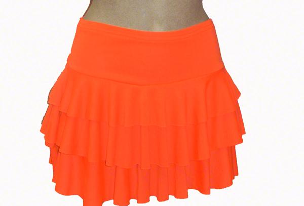 Jupe à volants orange fluo