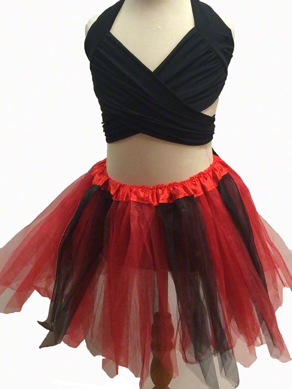 Jupe tutu en tulle noire et rouge