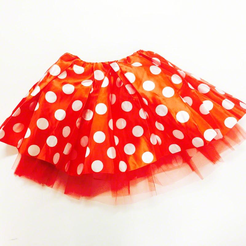 Jupe tutu satin à pois rouge et blanc  40cm