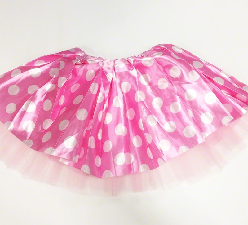 jupe Tutu satin à pois rose et blanc  40cm