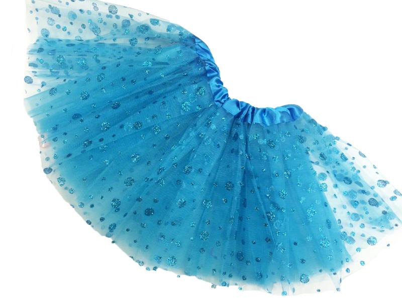 Jupe tutu de danse à pois pailletés turquoise