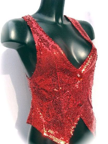 Gilet Disco à Paillettes Rouge