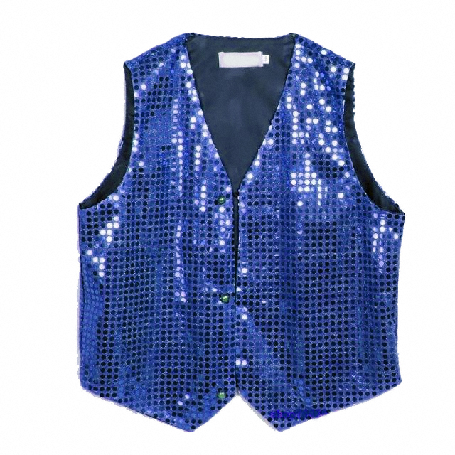 Gilet disco mixte adulte à paillettes bleu royal