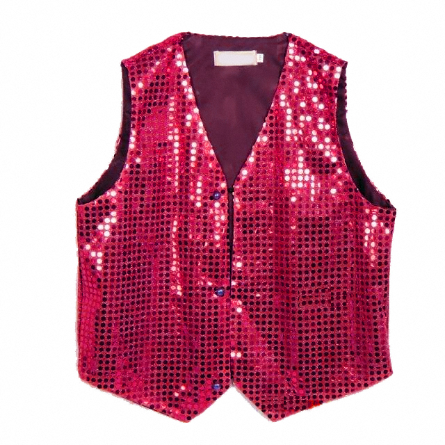 Gilet disco mixte adulte à paillettes fuchsia