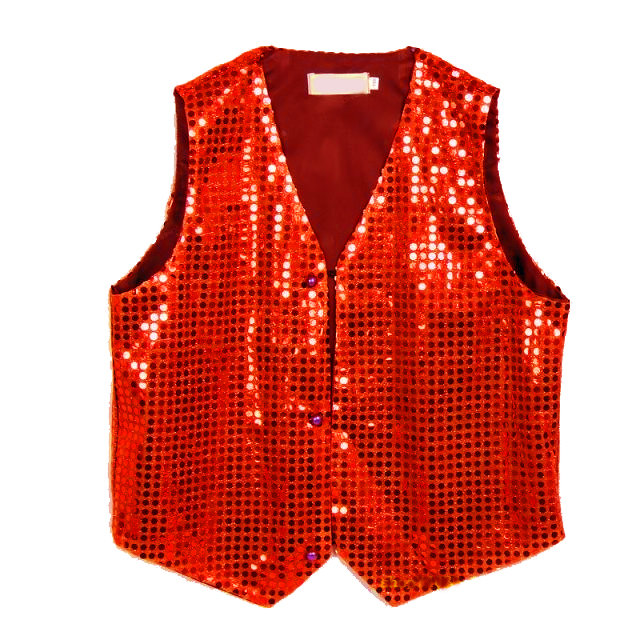 Gilet disco mixte adulte à paillettes rouge