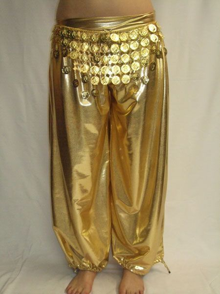 Pantalon Sarouel de Danse Or Métallisé