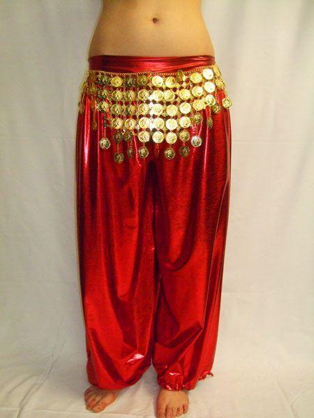 Pantalon Sarouel de Danse Rouge Métallisé
