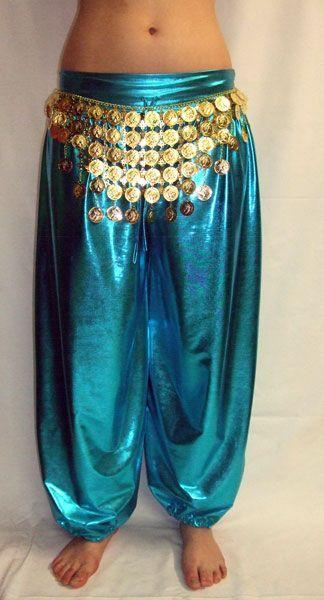 Pantalon Sarouel de Danse Turquoise Métallisé