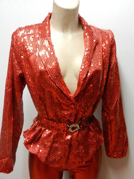 veste legging paillette rouge