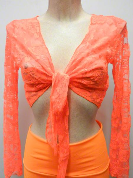 Cache coeur dentelle orange fluo