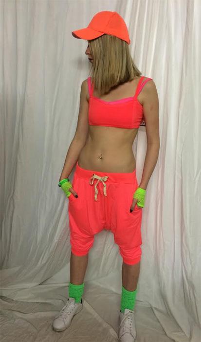 Sarouel court hip hop orange