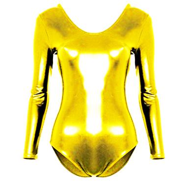 Body adulte lycra métallisé doré