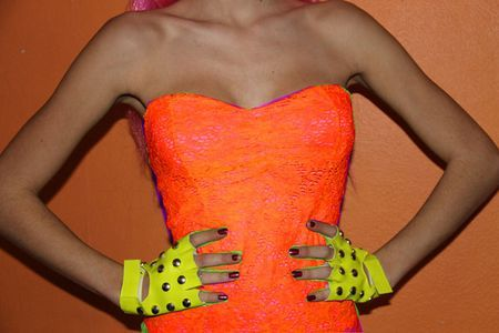 Bustier dentelle Lycra Orange Fluo