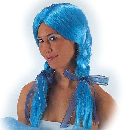 Perruque Avec Tresses Bleues