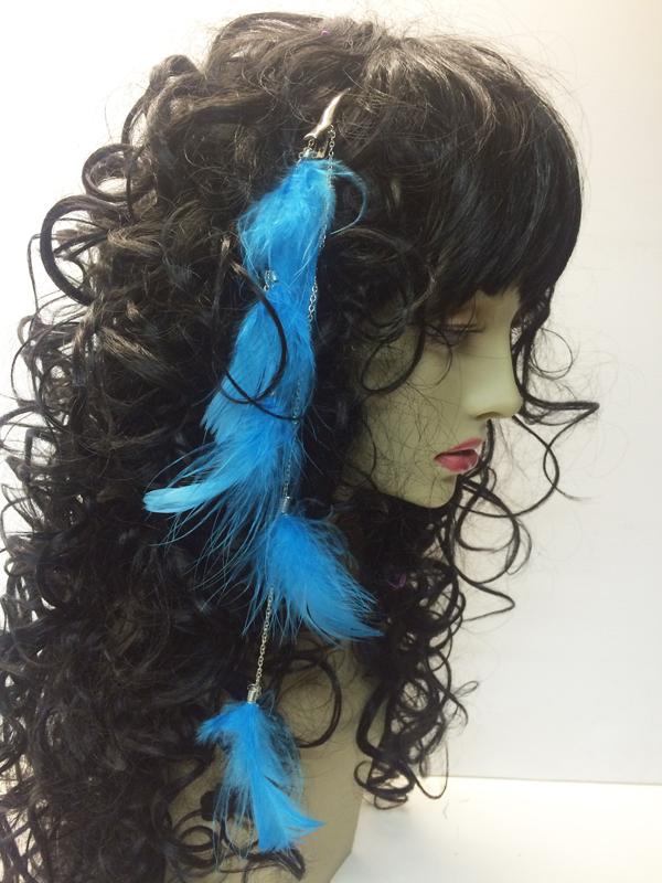 Pince à cheveux plumes bleues
