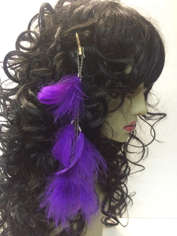 Pince à cheveux plumes violettes