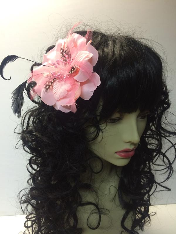 Pince à cheveux fleur rose