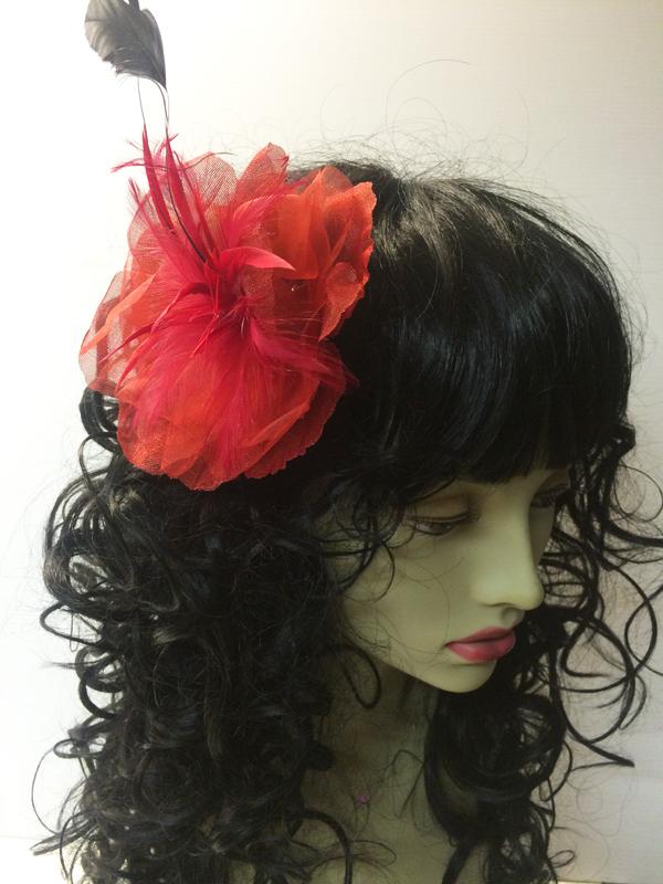 Pince à cheveux fleur organza rouge