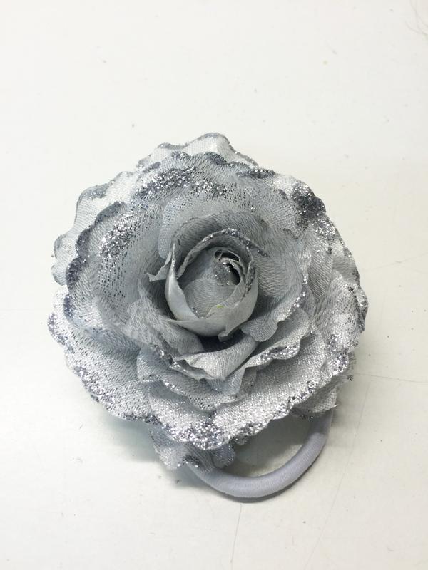Chouchou rose argent pailletée