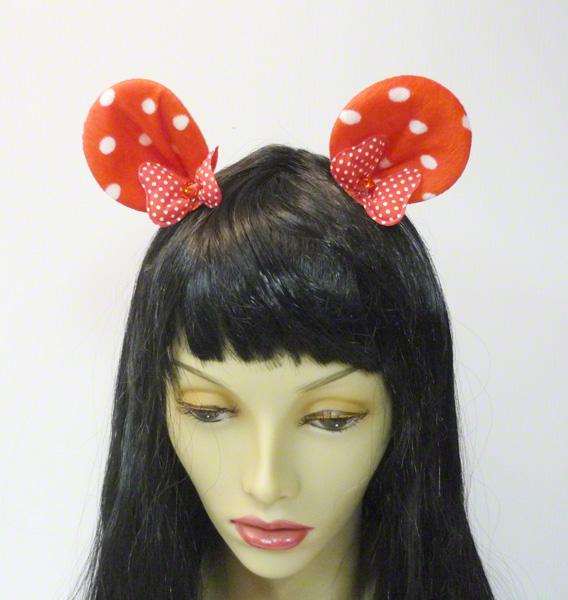 Pinces avec oreilles de Minnie rouge à pois