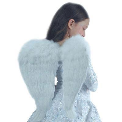 Ailes d\'Ange en plumes blanches 50cm