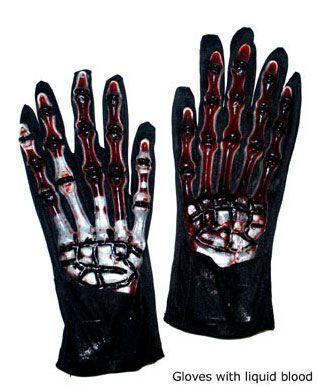 Gants Halloween Squelette En Latex Et Sang