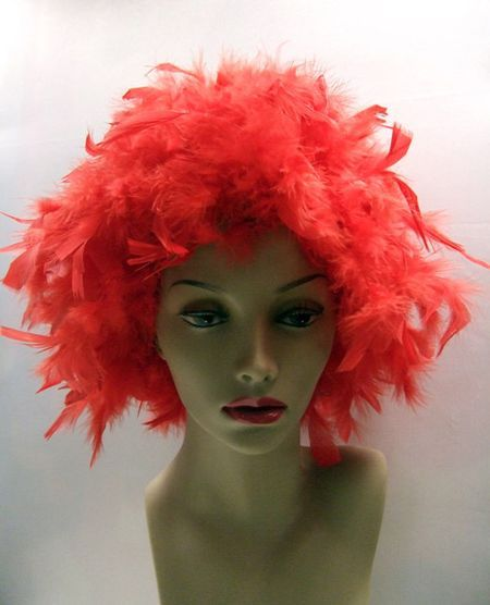 Perruque Plumes Rouge