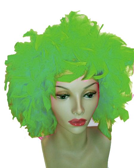 Perruque plumes verte