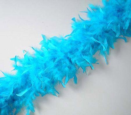 Boa En Plume Bleu Turquoise