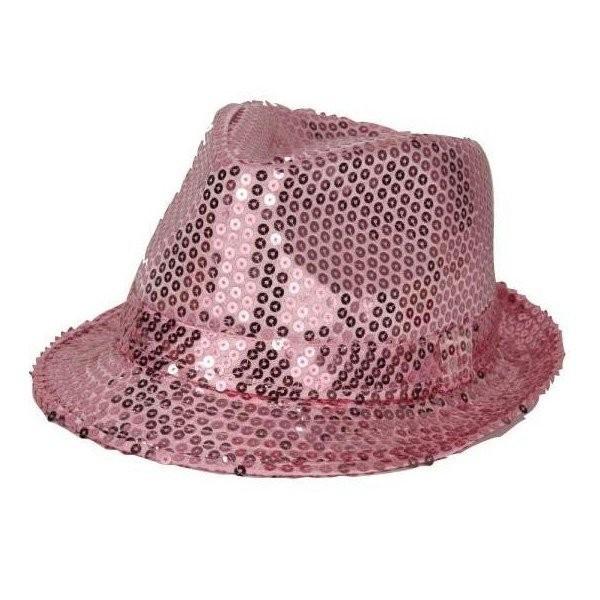 Chapeau borsalino à paillettes roses