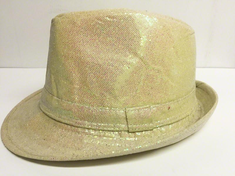 Chapeau borsalino à paillettes irisées