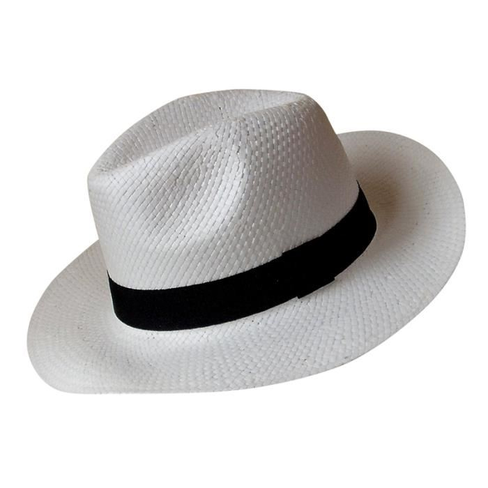 Chapeau borsalino paille blanc