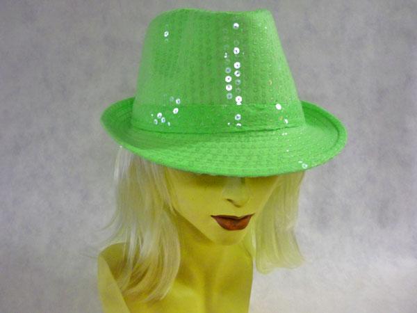 Chapeau borsalino à paillettes fluo vert