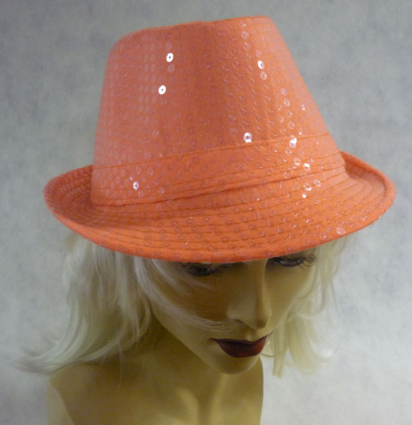 Chapeau borsalino à paillettes fluo orange