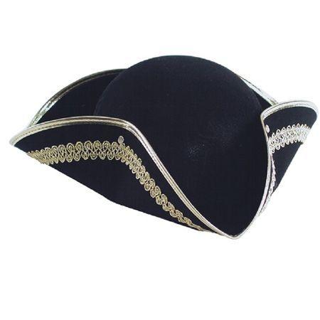 Chapeau Tricorne Pirate Ou Marquis Galons Dorés