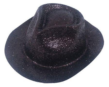 Chapeau Borsalino en plastique Pailleté Noir