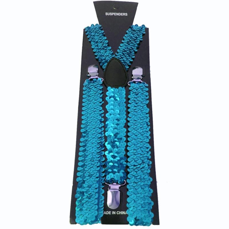 Bretelles paillettes turquoises