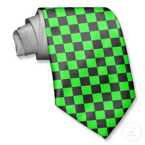 Cravate damier vert fluo