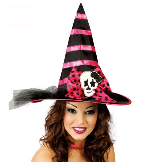 Chapeau de sorcière rose