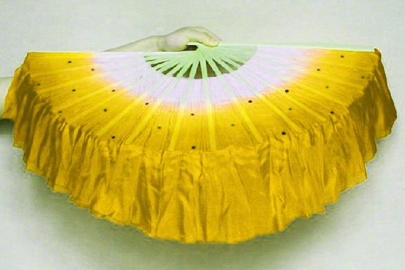 2 éventails de danse jaune