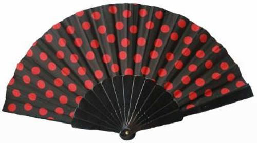 Eventail espagnol noir à pois rouges
