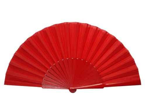 eventail tissu rouge