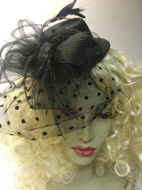 Mini chapeau avec voilette noir
