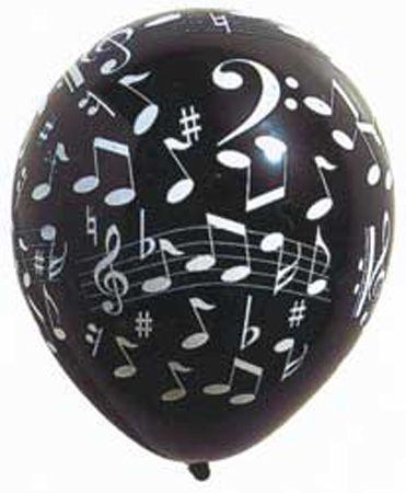 8 Ballons En Latex Imprimés Note de Musique