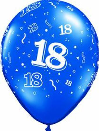 6 Ballons En Latex Chiffres 18